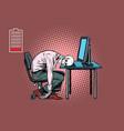 dead businessman skeleton at computer vector image vector image