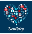 Dentistry banner with icons and symbols vector image vector image