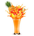 exotic fruit juice splash whole and sliced vector image vector image