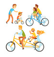 father riding his children on a bicycle set for vector image