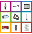 flat icon auto set of input technology gasket vector image vector image
