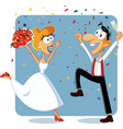 Funny bride and groom dancing at their wedding vec