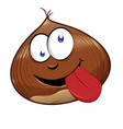 funny chestnut character mascot isolated on white vector image vector image