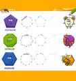 geometric shapes drawing worksheet vector image vector image