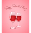 Glasses of wine on pink background vector image vector image