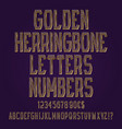 golden herringbone letters numbers dollar and vector image vector image