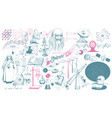 hand drawn scientific icons collection vector image vector image