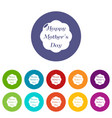 happy mother icons set color vector image vector image
