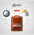 hotel suitcase clock and chain key vector image vector image