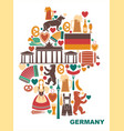 icons of germany in the form of a map vector image vector image