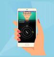 incoming call via mobile application on smartphone vector image