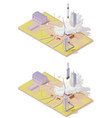 isometric rocket launch complex vector image vector image