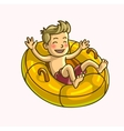 Little happy cheerful boy on swim ring vector image vector image