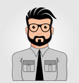 man cartoon portrait with glasses vector image vector image