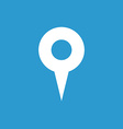 map pin icon white on blue background vector image vector image
