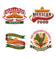 mexican fast food cuisine icons set vector image vector image