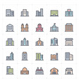 mini icon set - building full color vector image vector image