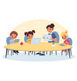 modern electronic teaching kids and teacher use vector image