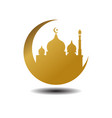 modern mosque moslem icon gold white background vector image