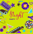 night party promo poster with shiny disco themed vector image