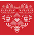 Nordic style pattern in heart shape with reindeer vector image vector image