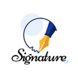 personal signature written with a fountain pen vector image