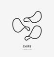 potato chips flat line icon thin sign of vector image
