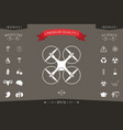quadcopter flying drone icon vector image