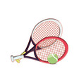 rackets with ball tennis isolated icon vector image vector image