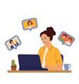remote work girl freelancer distance learning or vector image vector image