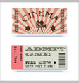 retro cinema tickets or event shape with texture vector image