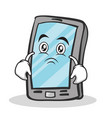 sad face smartphone cartoon character vector image vector image