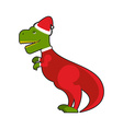Santa Claus Tyrannosaurus Christmas good dinosaur vector image vector image