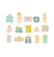 set christmas gift boxes in soft pastel colors vector image vector image