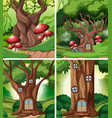 set of fairy tale house in forest vector image