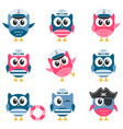 set of funny owls sailors vector image