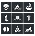Set of Indian Yoga Icons Yogi Burning vector image vector image