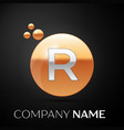 silver letter r logo gold dots splash and bubble vector image