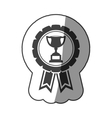 sticker monochrome medal with trophy cup vector image vector image