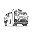 surf van and surfboards vector image