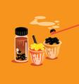 taiwan style milk tea pearl background vector image