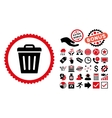 Trash Can Flat Icon with Bonus vector image vector image
