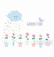 trendy print with garden flowers in pots cute vector image vector image