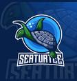 turtle mascot logo vector image