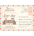 vintage airmail postcard wedding background vector image vector image
