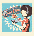 woman playing video game retro vector image vector image