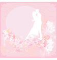 greeting card with silhouette of romantic couple vector image