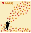 Cat and falling autumn leaves Maple leaf vector image