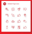 16 finger icons vector image vector image