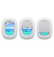 airplane porthole view plane open and closed vector image vector image